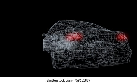 car model body structure with red led, wire model 3d rendering