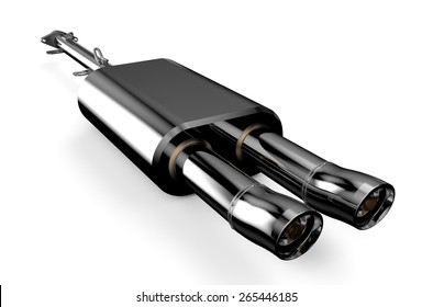 Car muffler, exhaust silencer isolated on white background