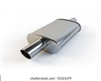 Car muffler on a white background