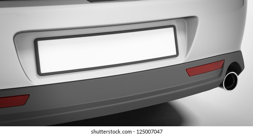 Car number plate isolated on a white background
