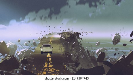 car on the broken asphalt road in the place without gravity, digital art style, illustration painting