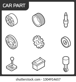 Car part outline isometric icons.   illustration,