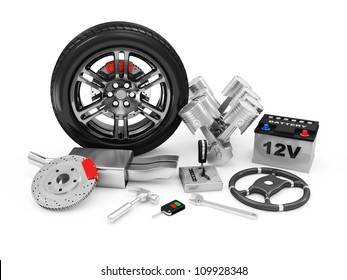 Car Parts isolated on white background