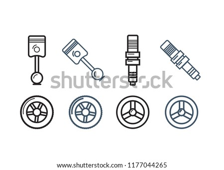 Royalty Free Stock Illustration Of Car Parts Line Icons Set Auto