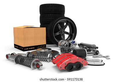 Car parts on background. Car parts box. 3D rendering.
