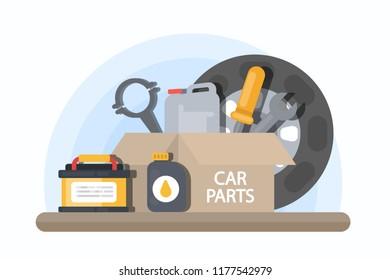 Car parts in tool box. Car repair service.