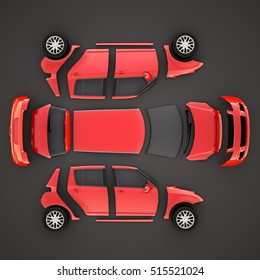 Car parts.Top view. 3D illustration. High quality