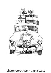 A car with presents sketch