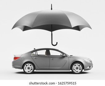 Car protected by umbrella, insurance concept, 3d rendering illustration