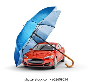 Car protection and safety assurance concept, modern red automobile under blue umbrella, isolated on white background, 3d illustration