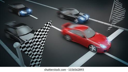 car race concept 3d rendering
