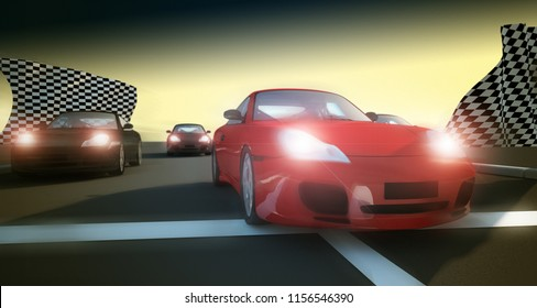 car racing concept 3d rendering illustration