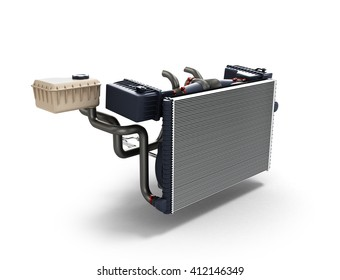 car radiator isolated on white background 3d illustration