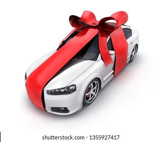 Car and red ribbon gift on white background. 3d illustration