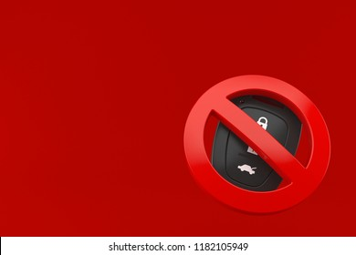 Car remote key with forbidden symbol isolated on red background. 3d illustration