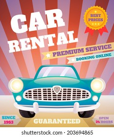 Car rental premium service automobile advertising retro poster  illustration