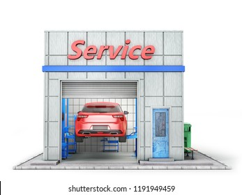 Car repair concept. Auto service station isolated on a white. 3d illustration