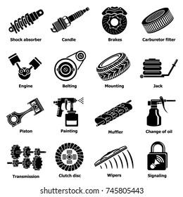 Car repair parts icons set. Simple illustration of 16 car repair parts  icons for web