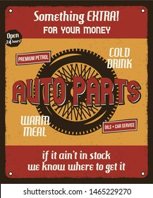 Car repair service retro poster with silhouette wheel and texts. Auto parts and mechanic on duty, transport maintenance and repairing vintage brochure. Garage station for automobiles. Stock