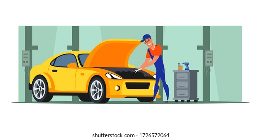 Car repair shop flat illustration. Auto mechanic character repairing engine. Cartoon handyman working in garage. Man with wrench checking vehicle. Automobile service, workshop. Raster copy