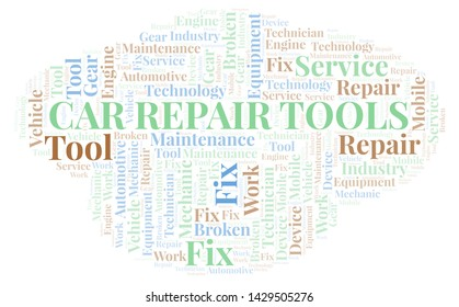 Car Repair Tools word cloud. Wordcloud made with text only.
