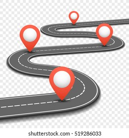 Car road, street, highway business roadmap infographics design. Way and direction plan with red pins sign. illustration
