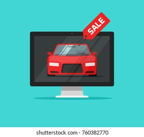 Car with sale badge in computer monitor illustration, flat cartoon style of automobile website page on desktop pc as online sale service image