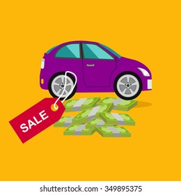 Car sale design template with modern tag. Concept in flat style cartoon
