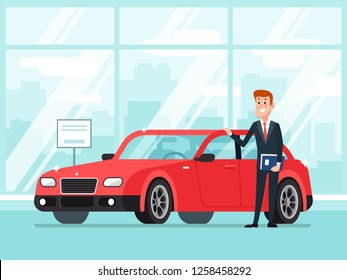 Car salesman in dealer showroom. New cars sales, happy seller agent owner shows premium vehicle auto lease in showroom dealership service to business buyer rentals cartoon concept illustration