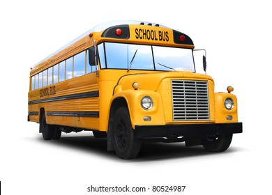 car school bus yellow isolated with path