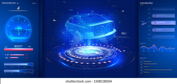 Car service. Hardware diagnostics condition of the car in style HUD. Scanning, test, monitoring, analysis, verification car. Car auto service, mechanisms top view