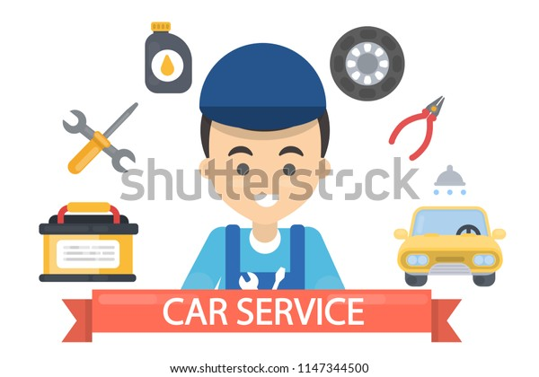 Car service illustration banner with man in uniform and equipment.