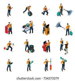 Car service isometric icons set with people and equipment symbols isolated  illustration