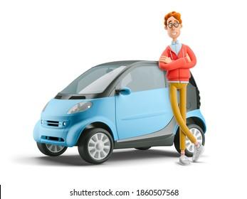 Konzept der gemeinsamen Nutzung von Fahrzeugen. Nerd Larry mit Smart Car. 3D-Abbildung.