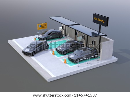 Car sharing parking lot equipped with solar panels, battery on gray background. 3D rendering image.