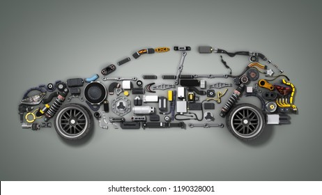 car silhouette made of details 3d render on grey