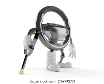 Car steering wheel character with broken leg isolated on white background. 3d illustration