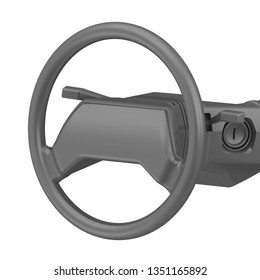 Car steering wheel. One gray car steering wheel (steering column) isolated on white background. 3D Illustration