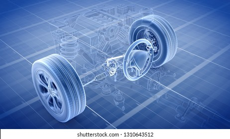 Car structure - Steering System 3d rendering