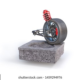 Car suspension on the piece of road. Can see road structure. 3d illustration