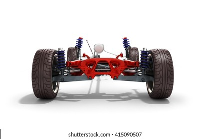 car suspension separately from the car isolated on white 3d render