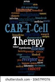 CAR T Cell Therapy word cloud concept on black background.