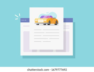 Car text info and instruction document online web page or automobile history description report, concept of vehicle content creating or reading flat cartoon illustration modern design image