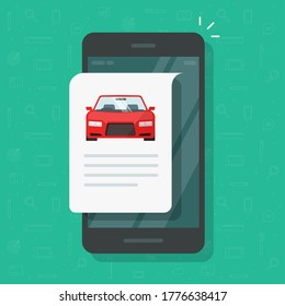 Car text info repot and instruction document online web page on mobile phone or smartphone automobile history description, concept of vehicle content or reading flat cartoon illustration image