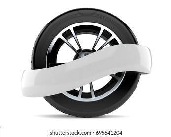 Car tire with blank ribbon isolated on white background. 3d illustration