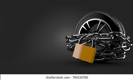 Car tire with chains and padlock on gray background. 3d illustration