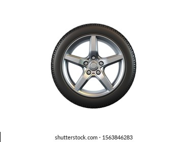 Car tire isolated on white background.3D illustration.