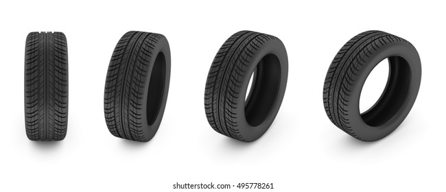 car tire. Car tire isolated on white background. 3D illustration.