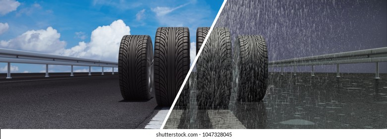 Car tires on dry road in summer and wet road in the rain (3D Rendering)