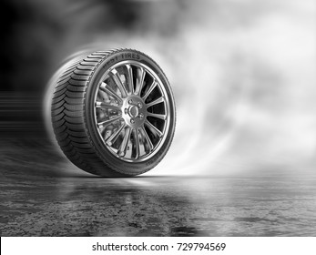 Car tires rolling on a road at clouds of a white smoke. 3d illustration